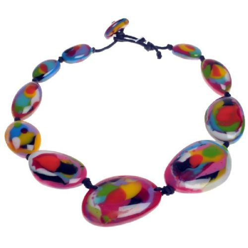 Jackie Brazil short flat riverstone necklace in Kandinsky B